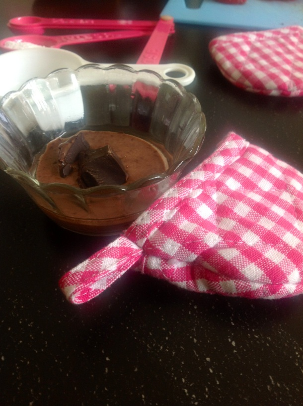 Pour in half the batter, add chocolate chunks.