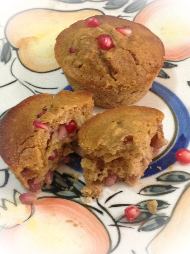 Whip up a batch of tempting pomegranate and ginger muffins today.