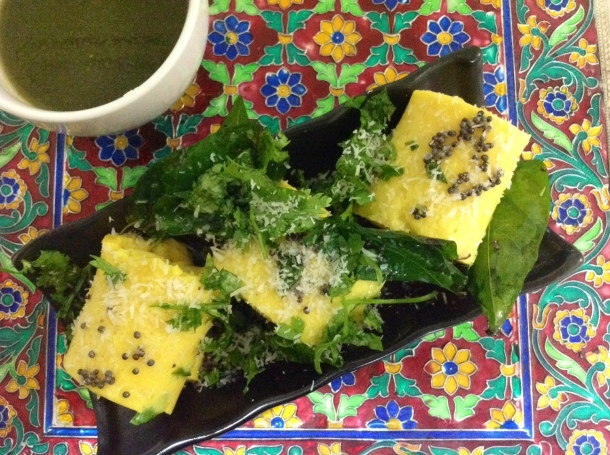 Made with chick pea flour, Khandvi is a popular tea time snack