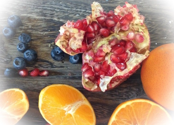 orange and pomegranate