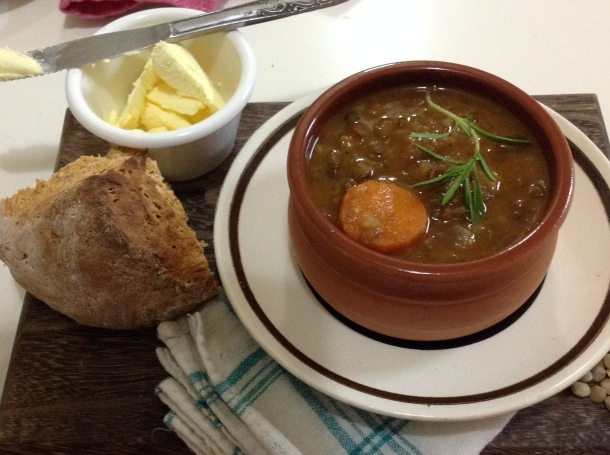 greek lentil soup with soda bread