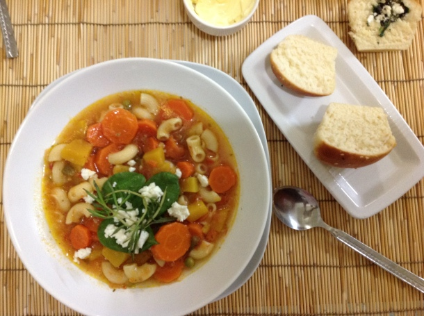 Hearty soup and rolls